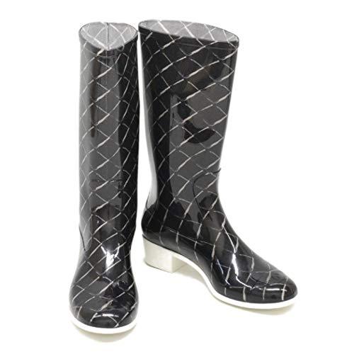 シャネル CHANEL ココマーク バイカラー レインブーツ ブーツ 長靴 雨靴 38 ビニール ツートン ブラック ホワイト 黒 白 女性 中古