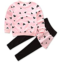 FlamingoAU Three Colors Into Girls Love Cotton Long-Sleeved Sweater T-Shirt + Culottes Shirt Pink