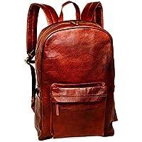 """18"""" Brown Leather Backpack Vintage Rucksack Slim Laptop Shoulder Bag Water Resistant Casual Daypack Large Compartment College Bookbag Comfortable Lightweight Travel Backpack Hiking/Picnic Bag for Men"""
