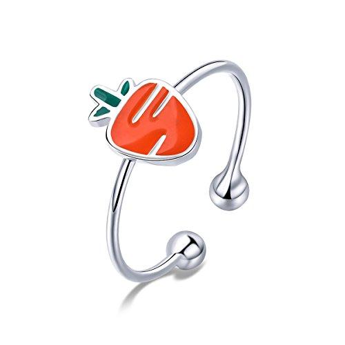 WOSTU S925 Cute Carrot Open Ring かわいいニンジン シルバー指輪 野菜アクセ ラッキー お守り ファッション手作り レディース