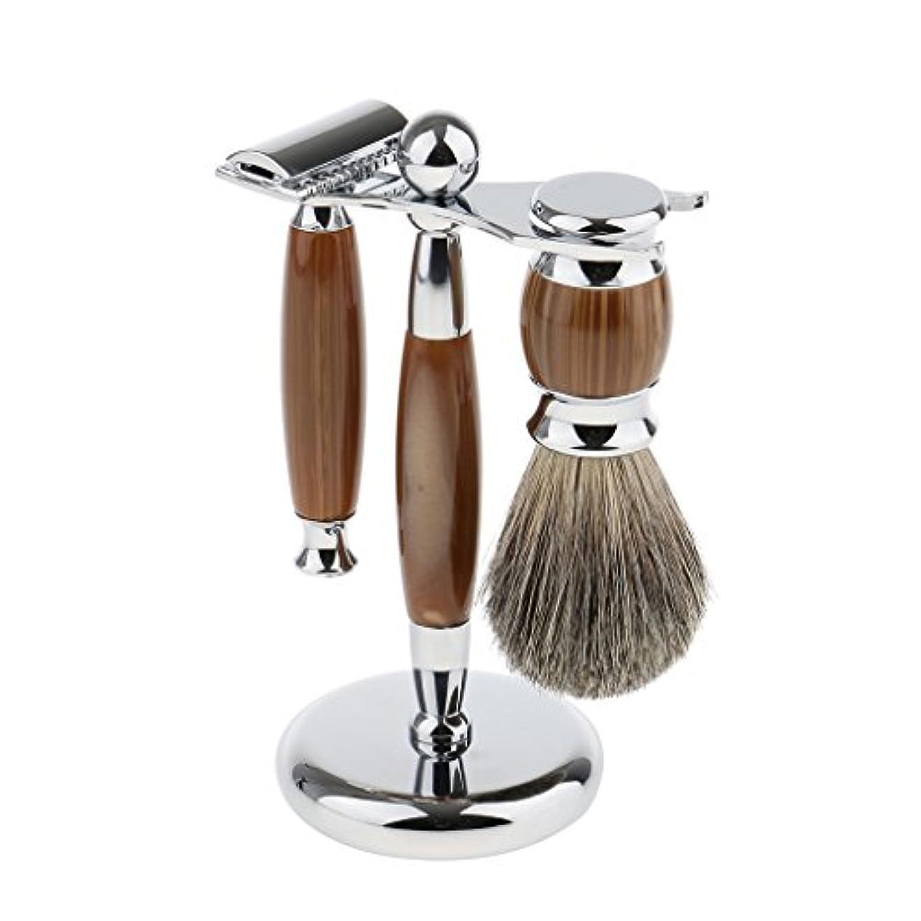 抹消地上の記念日Baoblaze 3点入り シェービング スタンド ブラシ マニュアル ダブルエッジ 髭剃り メイク レトロ プレゼント 3色選べ - タイプ3