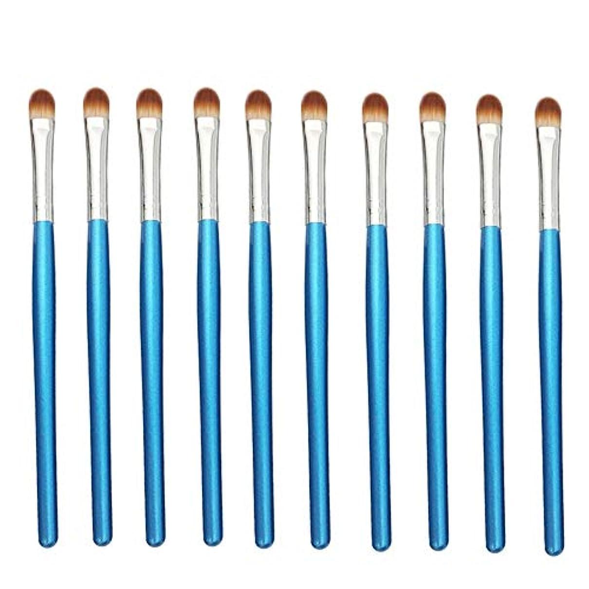 前売文献コミットMakeup brushes 青、初心者および専門家に適したアイシャドウブラシアイメイクブラシ10スティックアイメイクブラシ suits (Color : Blue Silver)