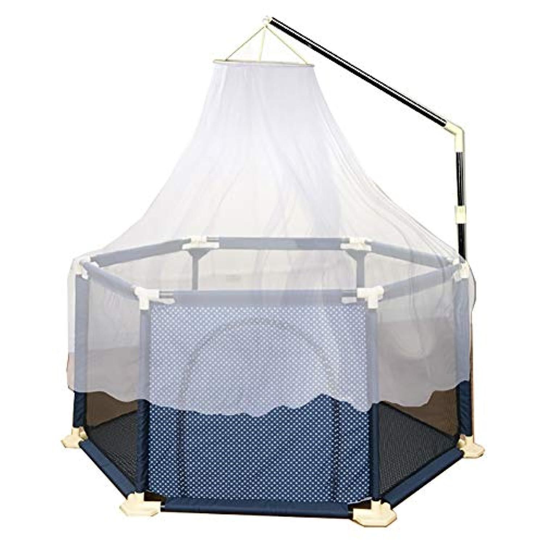 赤ちゃん遊び場安全ゲイツプレイヤード6パネル屋内ポータブル子供フェンスと蚊帳 (色 : 青)