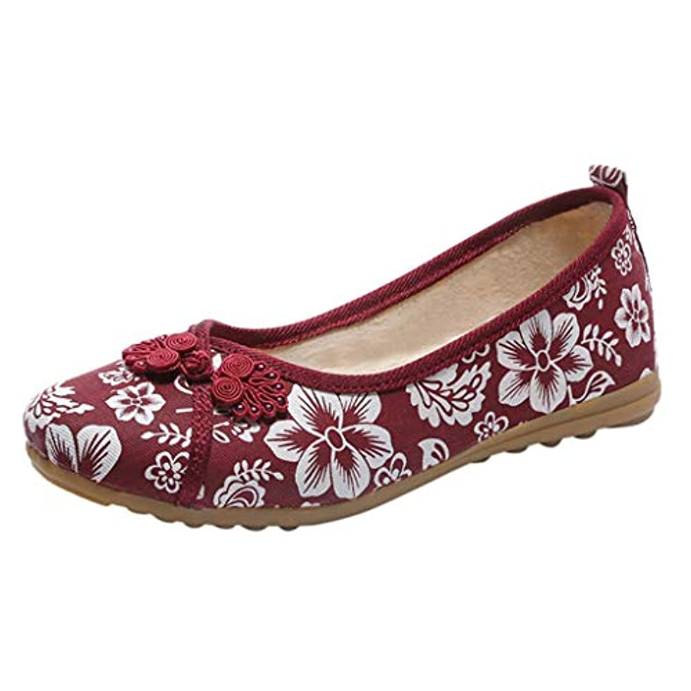 クッション金曜日プーノレディース カジュアル キャンバスシューズ Hodarey フラットシューズ 女性用 ローファー 花柄 大きいサイズ レトロスタイル 怠惰な靴 快適 滑り止め エンドウ豆の靴 歩きやすい 母の靴 婦人靴 人気 レディース シューズ 普段着