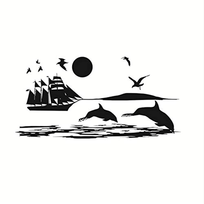 Mingld カモメサメ船上の海の壁のステッカー風景壁画壁デカール子供の寝室のリビングルームビニール取り外し可能なDiyの家の装飾30×59センチ