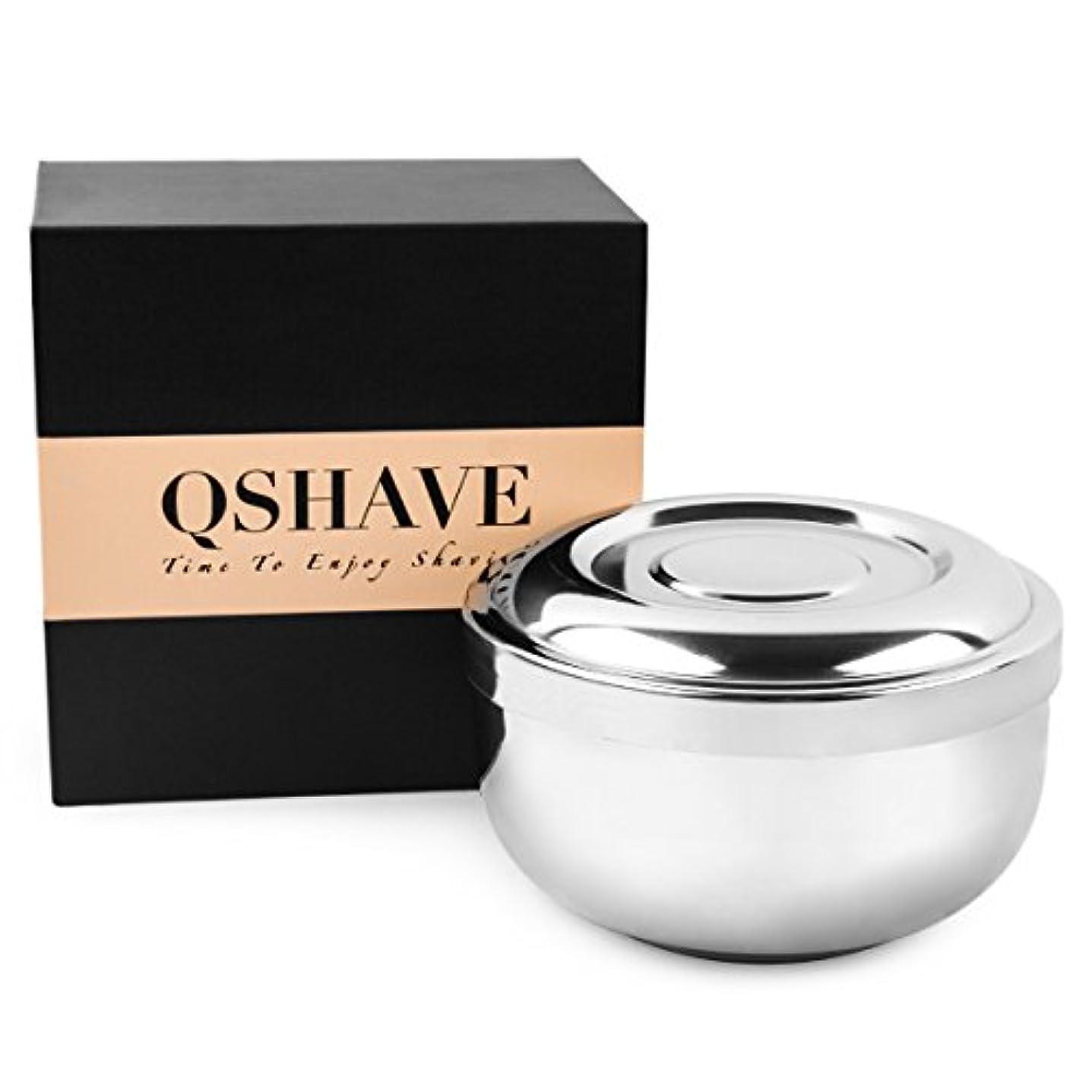 QSHAVE ステンレススチールシェービングボウル 直径10㎝の蓋つき ラージ深型 クロムメッキ 鏡面仕上げ
