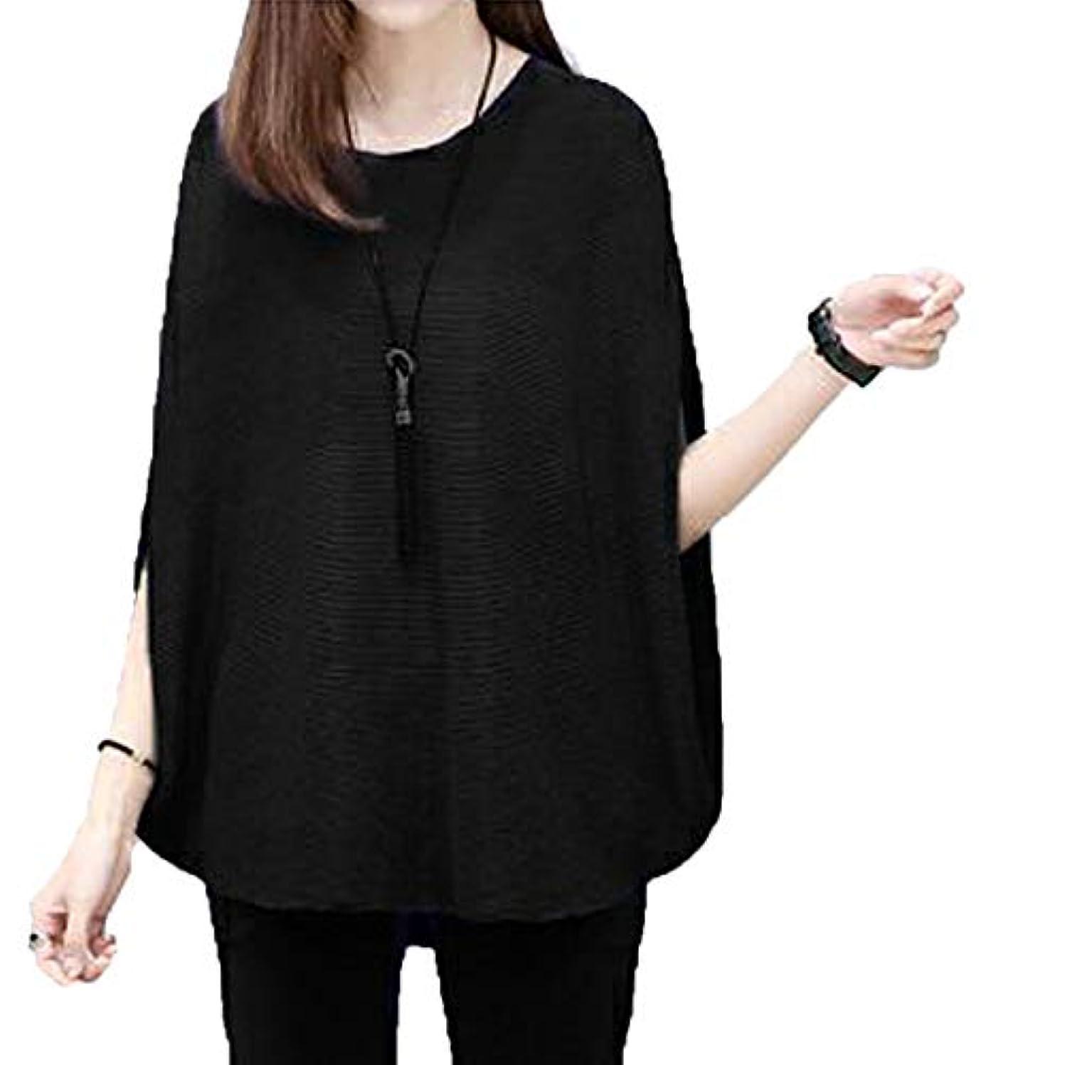 帝国主義粘土霧[ココチエ] レディース トップス Tシャツ 二の腕 カバー 半袖 ノースリーブ プルオーバー ゆったり 大人体型 体型カバー おおきいサイズ おしゃれ 黒 ネイビー