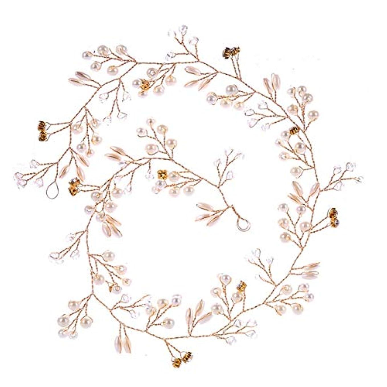 尊厳ローン高さHairpinheair YHM 50センチ結婚式のファッションヘッドドレス花嫁手作りの結婚式の王冠花パールヘアアクセサリーヘアピンの装飾品(ゴールド) (色 : Gold)