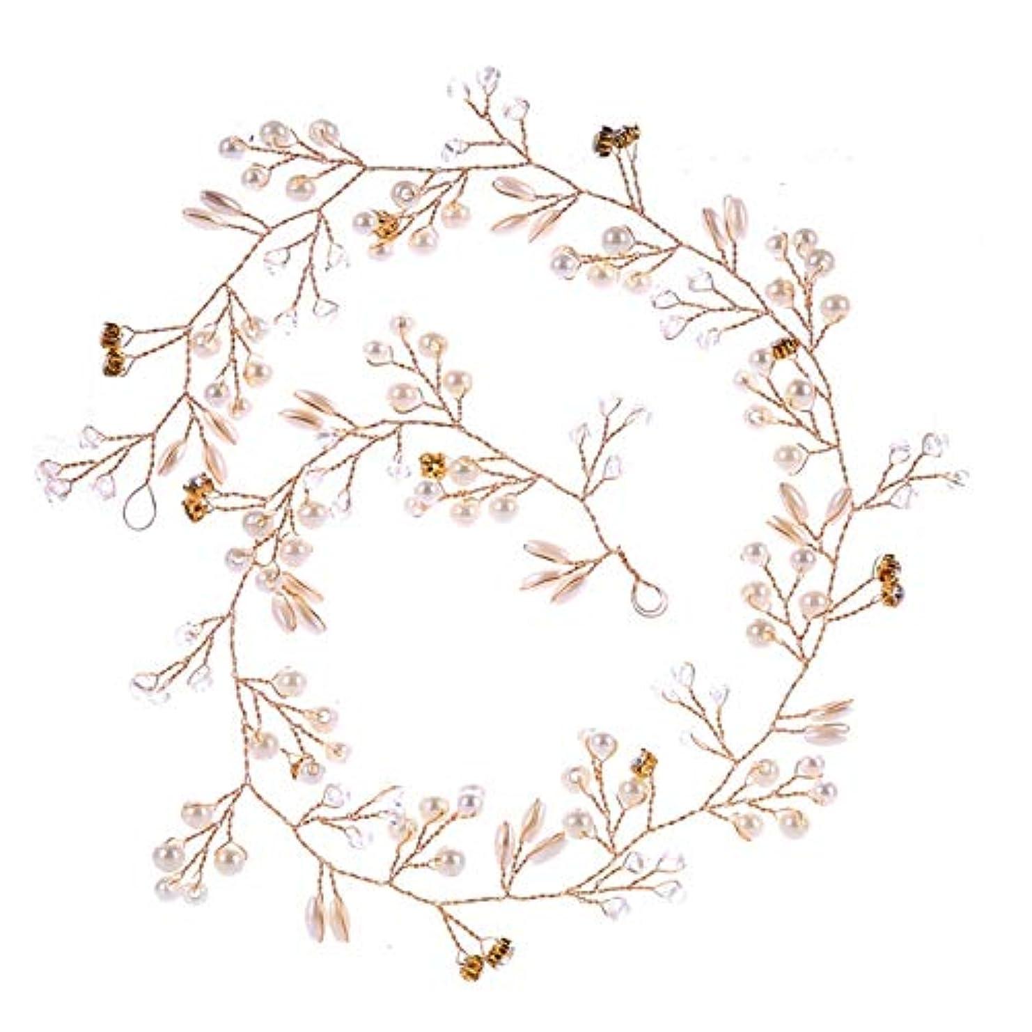ローン天井ギャラリーHairpinheair YHM 50センチ結婚式のファッションヘッドドレス花嫁手作りの結婚式の王冠花パールヘアアクセサリーヘアピンの装飾品(ゴールド) (色 : Gold)