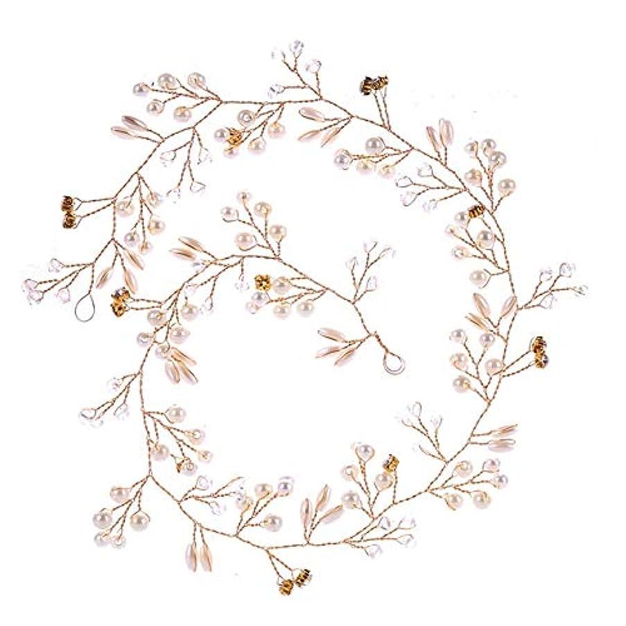 エピソード確認クリケットHairpinheair YHM 50センチ結婚式のファッションヘッドドレス花嫁手作りの結婚式の王冠花パールヘアアクセサリーヘアピンの装飾品(ゴールド) (色 : Gold)