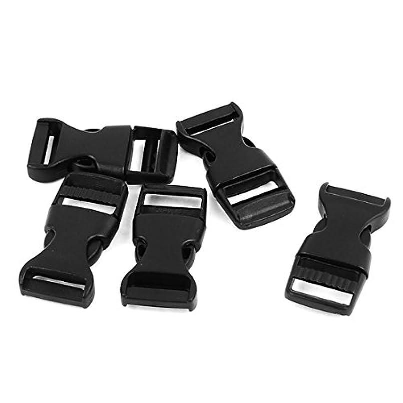 ラバ出費溶融uxcell サイドリリースバックル 15mmウェビングストラップバンド クラスプ ブラック プラスチック 5個入り