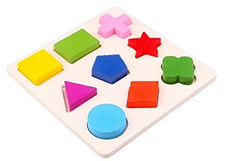 木製9シェイプカラフルパズルおもちゃ赤ちゃん教育レンガおもちゃ