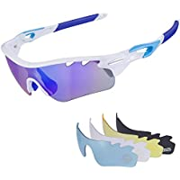 Cycling Polarized Sunglasses for Men for Women, UV 400 Sunlens with 4 Interchangeable Lenses for Running, Fishing, Climbing, Driving