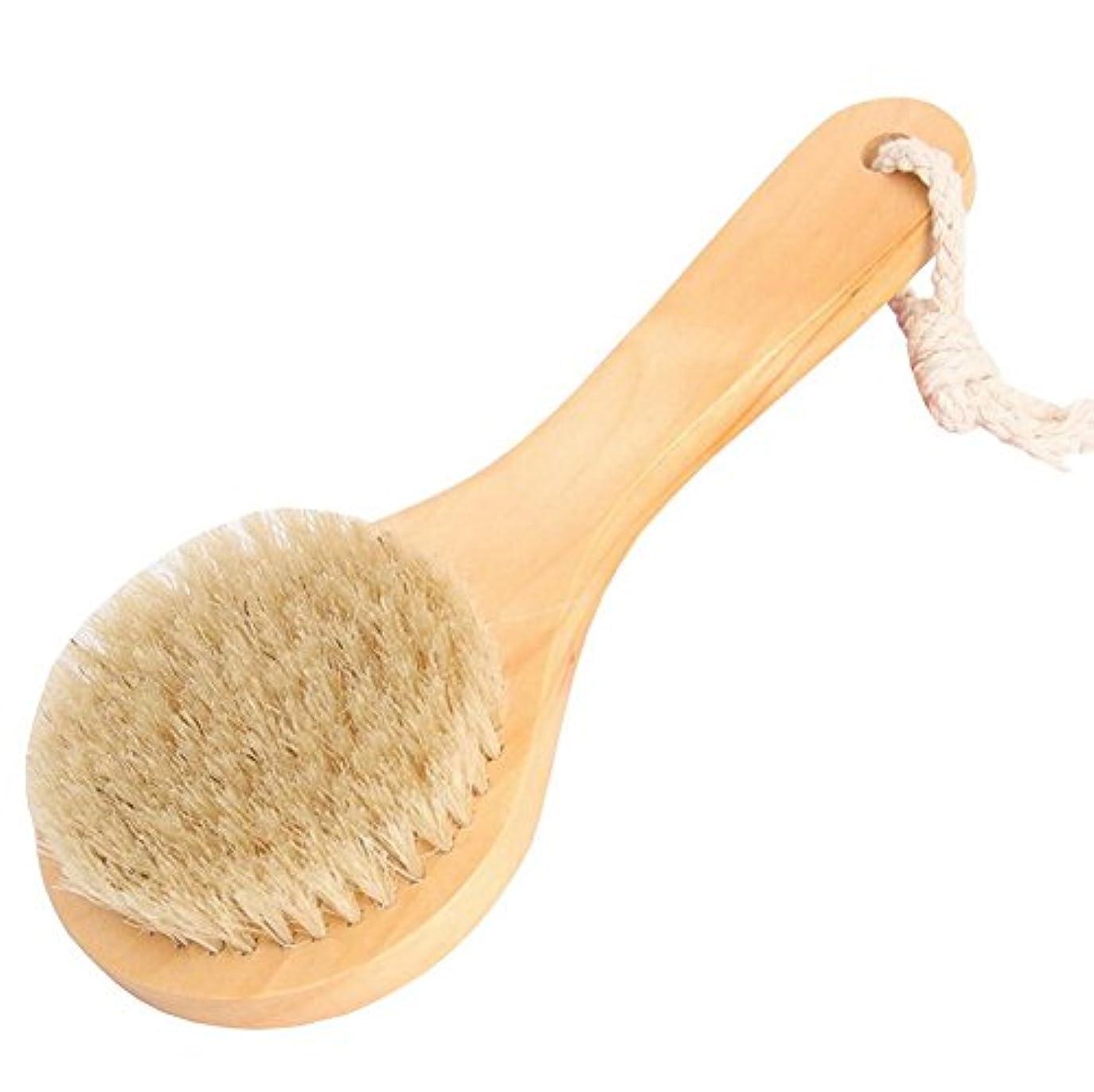 惑星役職主要なFoucome ボディブラシ ロング マッサージ 豚毛100% 長柄 角質除去 美肌効果 背中 最高品質 天然材 お風呂グッズ 毛穴洗浄 血行促進 イェロー S