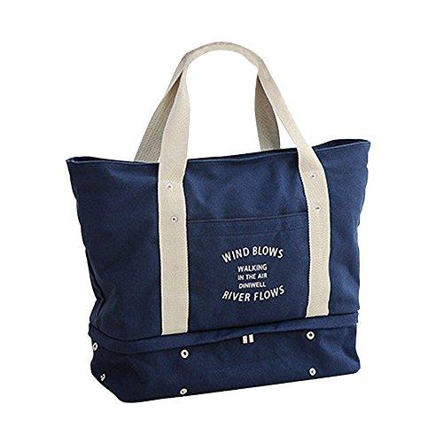 【Grandir】 マザーズバッグ トートバッグ キャンパスバッグ シンプル 軽量 全4色 (ネイビー)