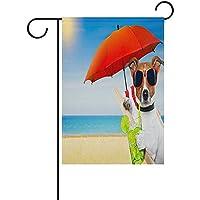 夏cokctail犬の庭の旗装飾的な旗ヤードホームウェディングガーデンの装飾100%ポリエステル両面に印刷された12×18インチ