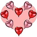 アルミ ハートバルーン 60cm カラー が選べるパーティー イベント バルーン 風船 (レッド×ピンク)