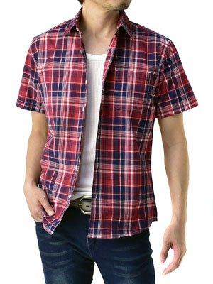 (フラグオンクルー) FLAG ON CREW 半袖シャツ メンズ チェックシャツ カジュアルシャツ チェック柄 / A6H / M 4・レッド系