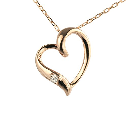 【 DIAMOND WORLD 】レディース ジュエリー K10PG ピンクゴールド ダイヤモンド オープンハート ペンダントネックレス 0.01ct 選べる 3素材 Open Heart