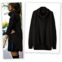 AU Plus Size Women's Turtleneck Knitwear Sweater Jumper Dress Pullover Knit Tops Black 16