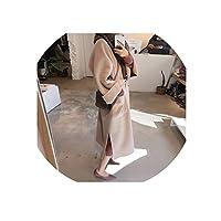 女性ウールコート女性厚く長袖ミディアムロングレディベルトコート、ベージュ、XL