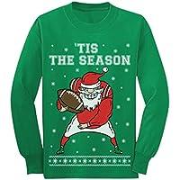 Santa Football 'Tis The Season Ugly Christmas Youth Kids Long Sleeve T-Shirt