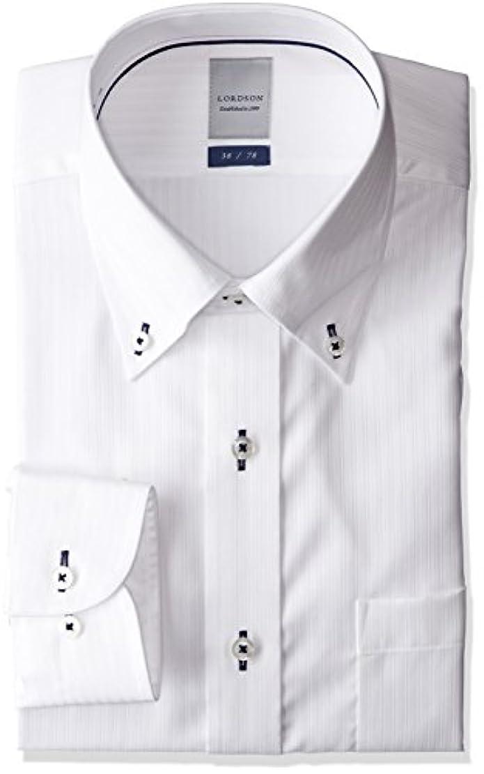 導体アジア人かかわらず[チョーヤ] LORDSON 綿100% 形態安定 ボタンダウン ホワイトドビー ドレスシャツ メンズ ZOD200