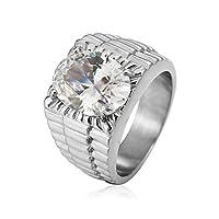 Ianlex ステンレスリング 指輪 メンズ シルバー シングル ジルコン スクエア メンズ リング 指輪 サイズ:21