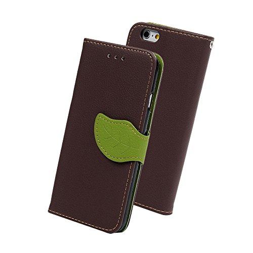 iPhone6s ケース iPhone6ケース YOKIRIN? 高級PUレザー ケース 手帳型 全面保護ケース カード収納ホルダー付き 横置きスタンド機能付き かわいい葉のボタン マグネット式 スマホケース ストラップ付き ブラウン