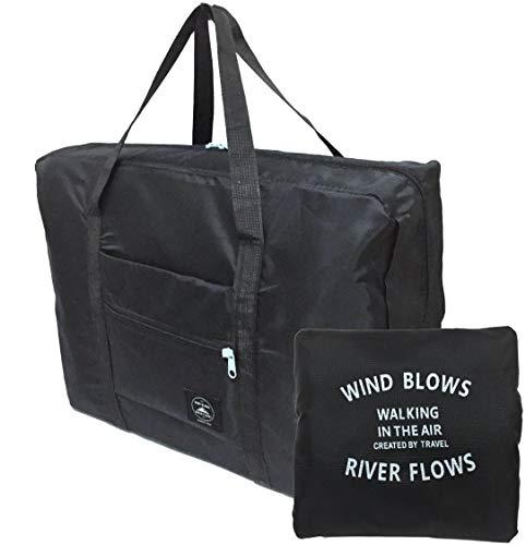 【POSITIVE】 折りたたみボストンバッグ 収納ポーチ付 大容量32L 機内持込可 スーツケース固定可 保証書付 (ALLブラック②)