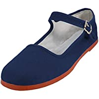 Easy USA Women's Cotton Mary Jane Shoes Ballerina Ballet Flats Shoes