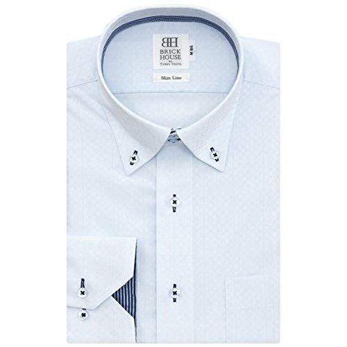 BRICK HOUSE 長袖 スリム ワイシャツ 形態安定 ショート ドゥエボットーニ ボタンダウン サックス×チェック織柄 BYLV24618F-10 ブルー S-84