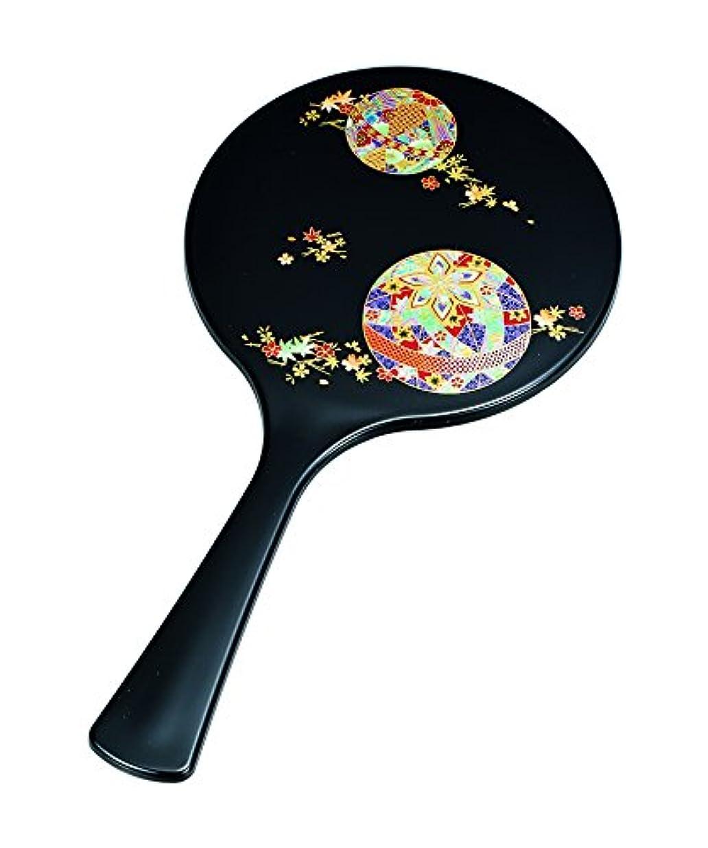 犯罪呼ぶ広告中谷兄弟商会 ミラー 黒 25.6×13.0×0.5cm 丸手鏡 黒 花てまり