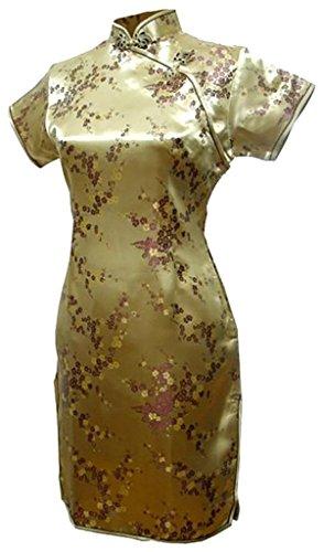 (上海物語) Shanghai Story 梅の花柄 半袖 カラー ミニ チャイナドレス(レディース、女性用)ドラゴン パーティー ワンピース ショート丈 スリット ワンピ ドレス