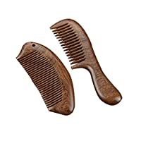 LIGONG ナチュラルサンダル木製くしヘアケア静電防止マッサージ現代ハンドブラシ髭くしウッドくしセットボックスギフト2サイズ (Size : A21*5*1cm-B14*5*1cm)