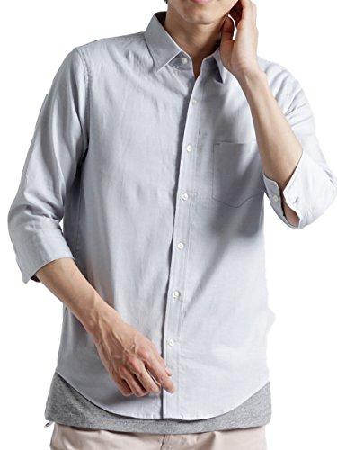 (モノマート) MONO-MART 7分袖 プレミアム 綿麻 リネン シャツ リネンシャツ ストレッチ メンズ アイスグレー XLサイズ