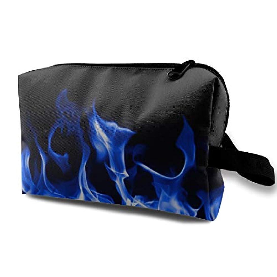 ボイラー強風囲いBlue Fire 収納ポーチ 化粧ポーチ 大容量 軽量 耐久性 ハンドル付持ち運び便利。入れ 自宅?出張?旅行?アウトドア撮影などに対応。メンズ レディース トラベルグッズ