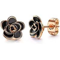Allencoco 18K Gold Plated Black Flower Stud Earrings for Women