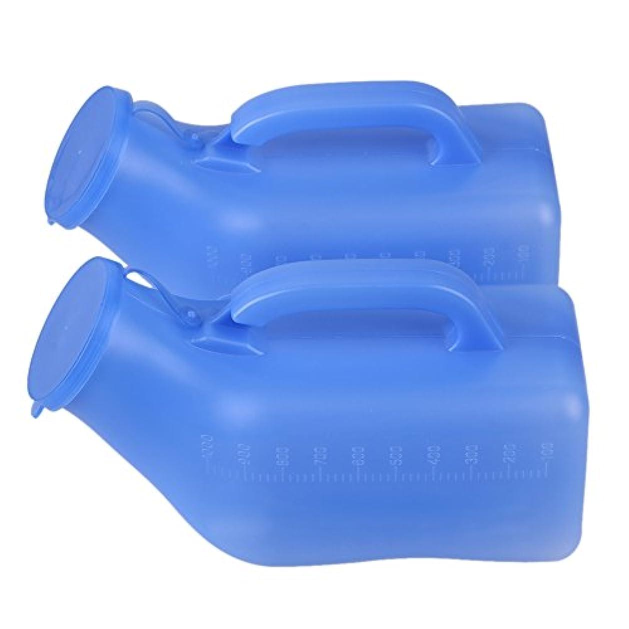 自動素敵な均等にKaity office 2個入れ 男性用尿瓶 尿器 排尿ボトル 洗い簡単 軽量 使いやすい 音なし プラスチック 1000ml ブルー