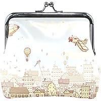 がま口 財布 口金 小銭入れ ポーチ 田舎 飛行機 風船 Jiemeil バッグ かわいい 高級レザー レディース プレゼント ほど良いサイズ
