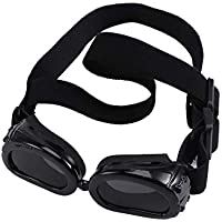 Balacoo Dog Sunglasses Eye Wear Protection Waterproof Pet Goggles UV Protection with Strap for Puppy Cat (Black)