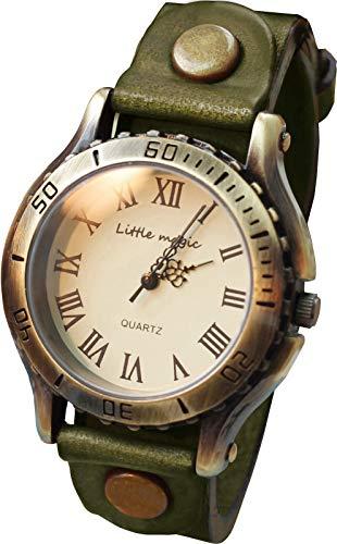 【リトルマジック】アンティーク 風 腕時計 メンズ レディース イタリアンレザー 革ベルト 日本製クオーツ ...