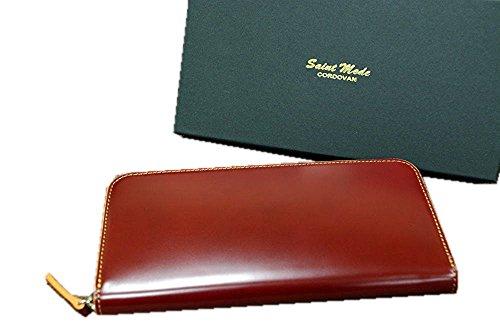 コードバン(馬尻革)×本ヌメ革 ラウンドファスナー長財布 (チョコ×Gブラウン)