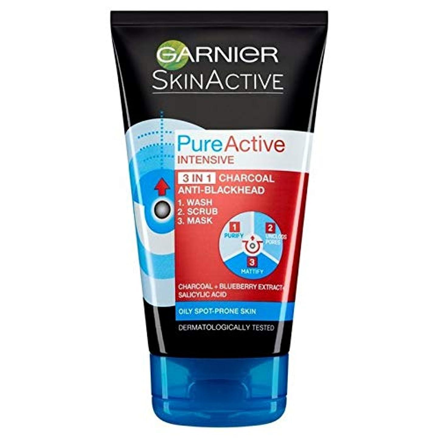 告発利益溶融[Garnier] 純粋な活性3In1の炭フェイスマスク、スクラブ?ウォッシュ150ミリリットル - Pure Active 3in1 Charcoal Face Mask, Scrub & Wash 150ml [並行輸入品]