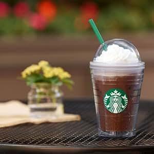 Starbucks スターバックス 欧州 イギリス 限定 海外 フラペチーノ に 最適 !! プラスチック 製 コールド カップ タンブラー / ドーム リッド 付き / トール サイズ 12 オンス 正規品 (並行輸入品)