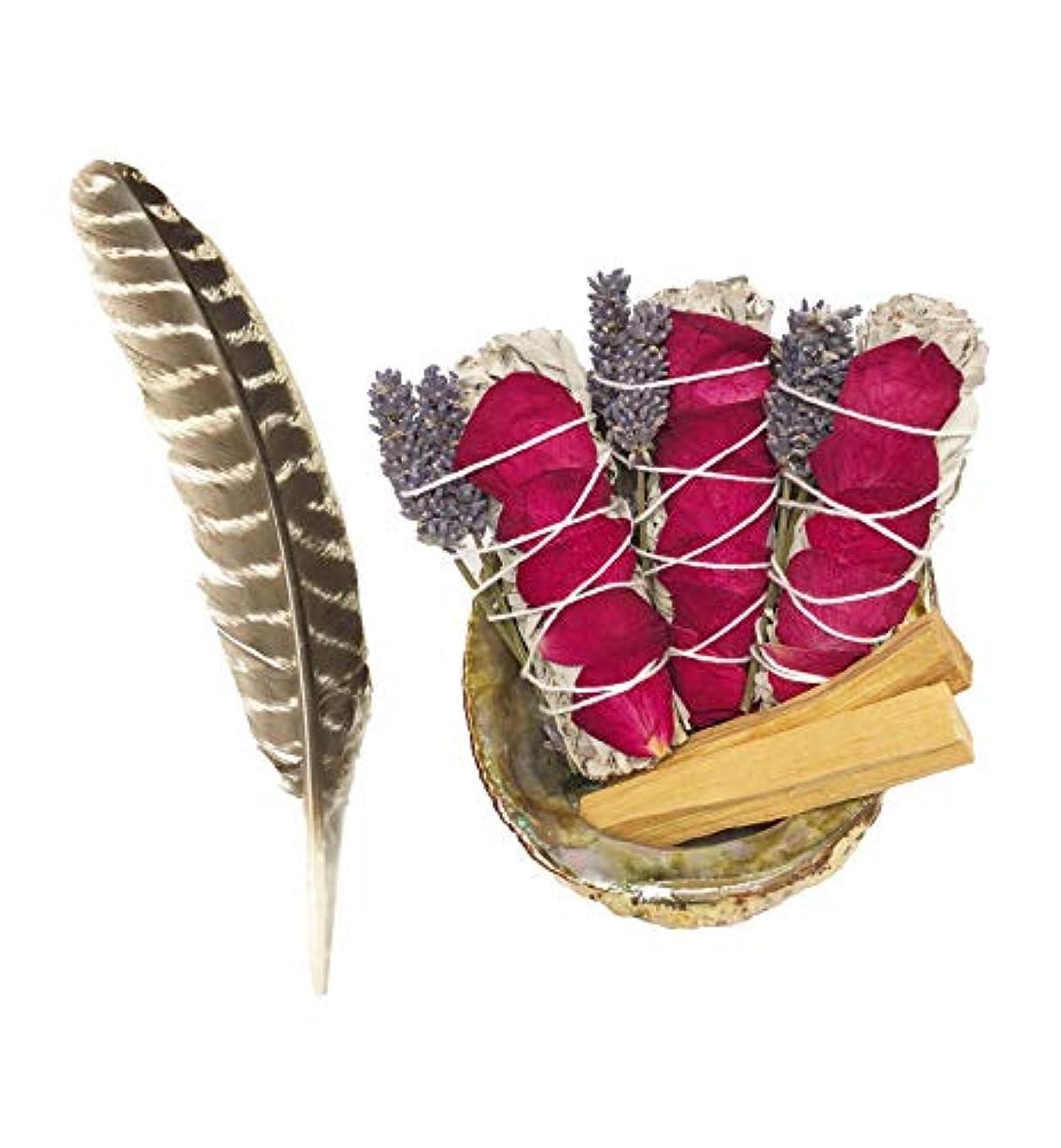原理リズム給料ホワイトセージスマッジキット – ホワイトセージ6本、パロサント2本、フェザー、キャンドル2本、手作りフクロウバスケット (大型1個とミニ2個) 癒し、浄化、瞑想、香り、浄化。
