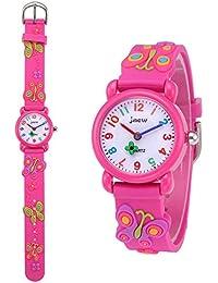 キッズ 腕時計 子供用 ウォッチ 子供腕時計 アラビア数字 防水 3D 蝶々 可愛い 女の子 ガールズ 卒園 入学祝い クリスマス 誕生日 プレゼント(ピンク)