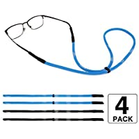 MoKo Adjustable Eyewear Retainer, [4 Pack] Universal Fit Rope Sports Sunglasses Retainer, Unisex Sunglass Strap Safety Glasses Holder for Men, Women - Black & Blue