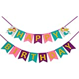 oexperマーメイドHappy Birthday withグリッターゴールド文字バナー、24個Glitterカップケーキトッパーマーメイドテールタツノオトシゴヒトデケーキデコレーションのガールズ誕生日パーティー用品パーティーFavors