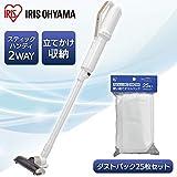 【セット販売】アイリスオーヤマ 極細軽量スティッククリーナー 掃除機 コードレス パールホワイト IC-SLDC4 & 別売掃除機用紙パック FDPAG1414 セット 画像